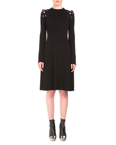 Long-Sleeve Lacing-Shoulder Dress, Black