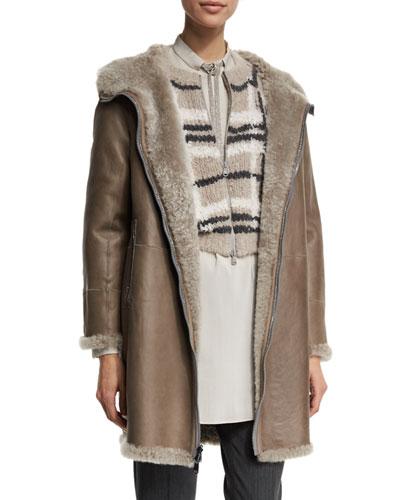 Reversible Hooded Shearling Coat, Sea Salt