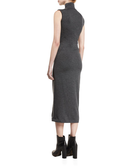 Ruched Sleeveless Turtleneck Midi Dress, Charcoal