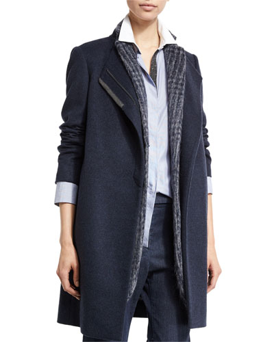 Monili-Placket Zip-Front Slim Coat, Navy