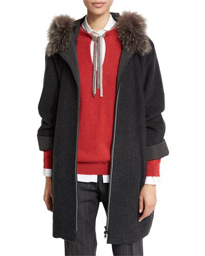 Fox-Trim Monili Zip-Front Coat, Anthracite
