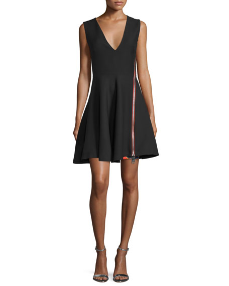 Zipper-Detail Sleeveless V-Neck Dress, Nero