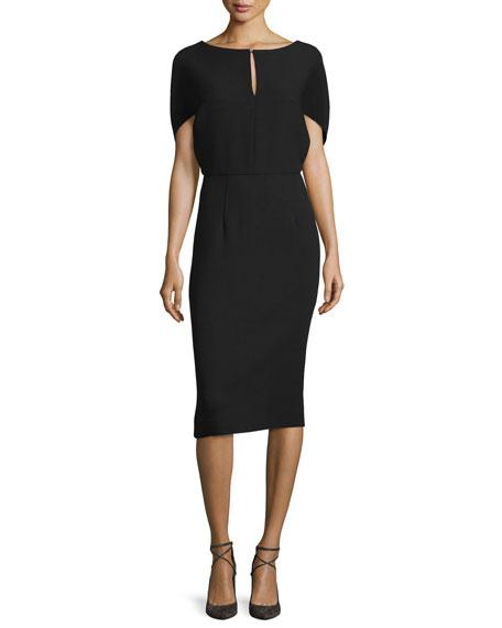Cape-Sleeve Sheath Midi Dress, Black