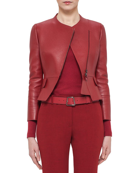 Akris Asymmetric Cropped Leather Jacket, Miracle Berry ...
