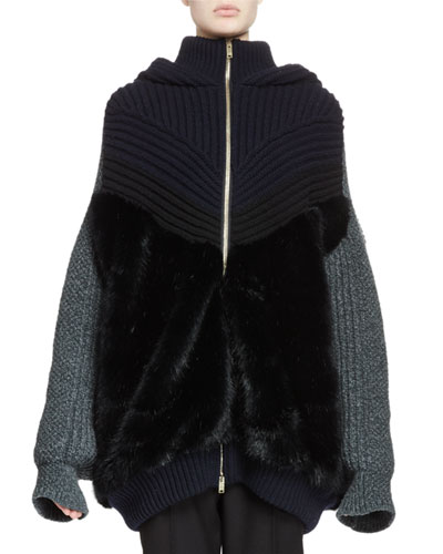 Knit Faux-Fur Zip-Front Hoodie Sweater, Ink Reviews