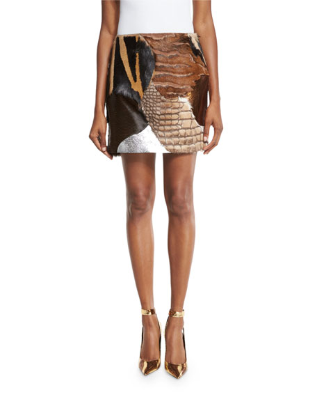 TOM FORD 3D Sequin Animal-Print Tank & Mixed-Fur