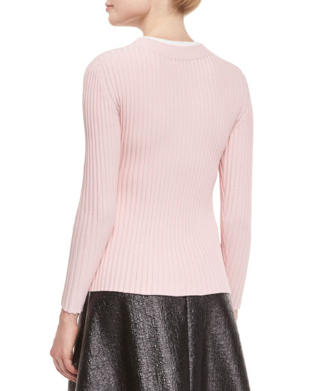 Ribbed Button-Front Cardigan, Pink