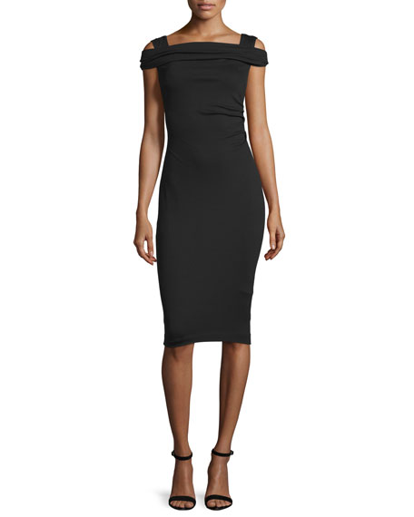 Cold-Shoulder Cap-Sleeve Dress, Black