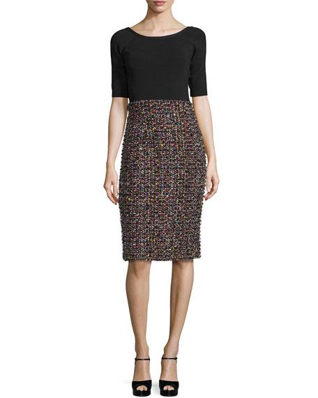 Sparkle Tweed Half-Sleeve Dress, Black/Multi