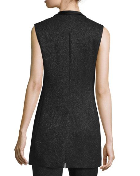Shimmery Satin-Tie Tuxedo Vest, Black Onsale