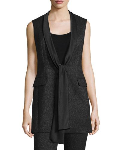 Shimmery Satin-Tie Tuxedo Vest, Black