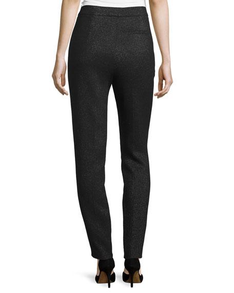 Eve Shimmery High-Waist Slim-Leg Pants, Black