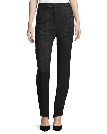 Escada Eve Shimmery High-Waist Slim-Leg Pants, Black