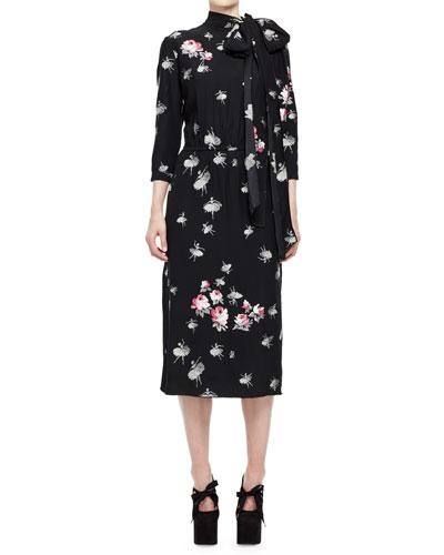 Ballerina-Print 3/4-Sleeve Tie-Collar Dress, Multi