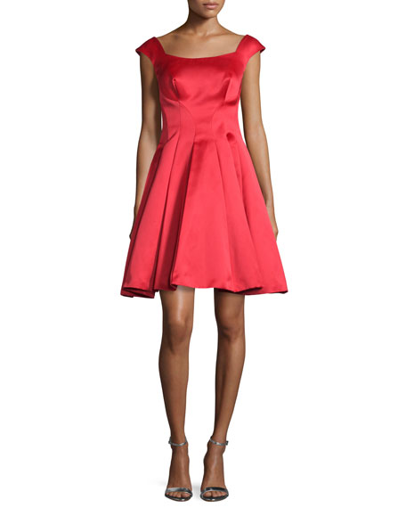 Cap-Sleeve Satin Fit & Flare Dress, Lipstick Red