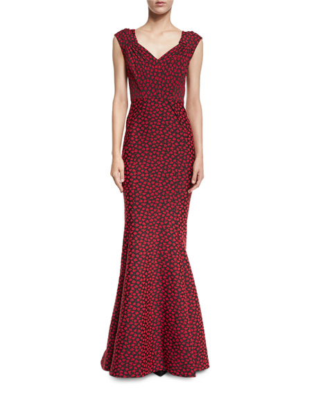 Zac Posen Cap-Sleeve Floral-Print Sweetheart Gown, Red/Multi