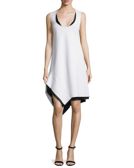 Narciso Rodriquez Asymmetric-Hem Sleeveless Scoop-Neck Dress, White