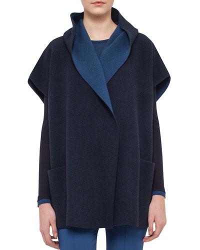 Reversible Bicolor Cashmere Gilet, Blue