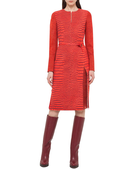 Akris Mixed-Print Long-Sleeve Dress, Red