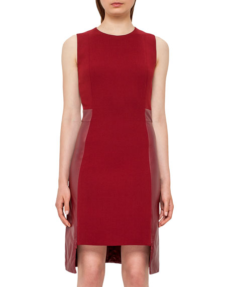 Akris Leather-Panel Side-Zip Sleeveless Dress, Miracle Berry