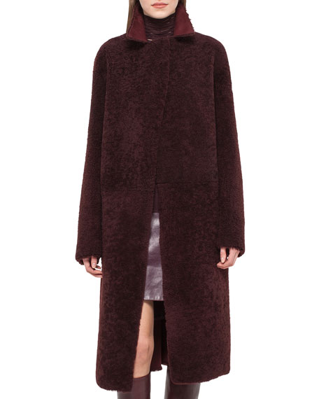 Long Reversible Shearling Fur Coat, Aubergine