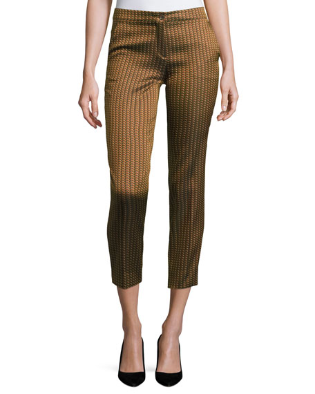 Etro Herringbone-Jacquard Cropped Pants, Gold