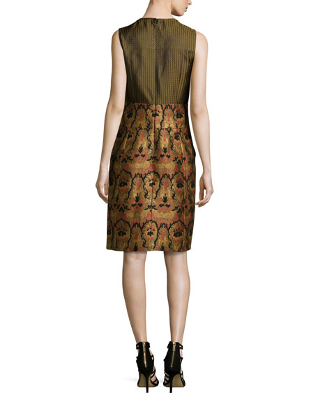 Sleeveless Tapestry & Medallion Jacquard Dress, Gold
