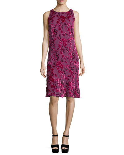 Velvet Sleeveless Flounce Dress, Fuchsia
