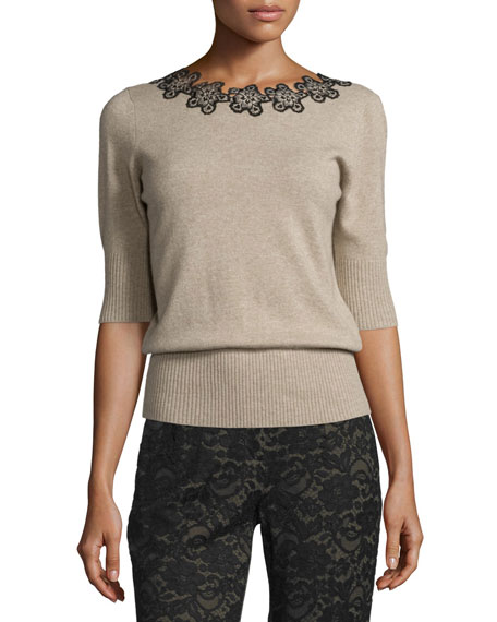Floral-Neck Half-Sleeve Sweater, Oatmeal
