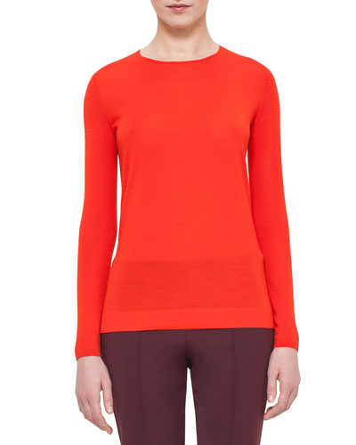 Long-Sleeve Jewel-Neck Pullover, Papaya
