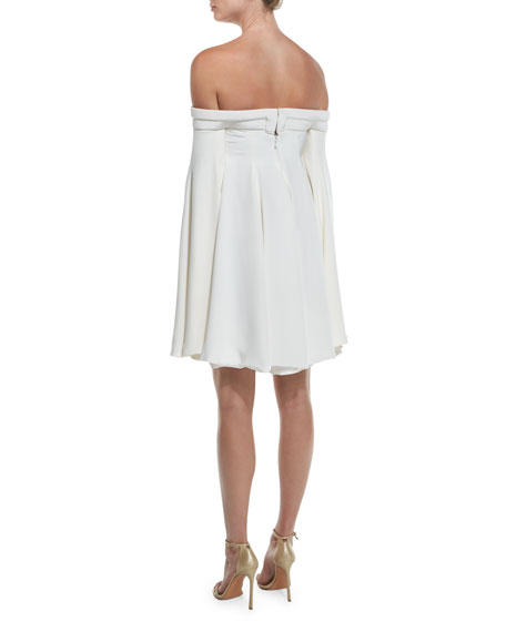 Off-the-Shoulder Swing Cocktail Dress, Ivory