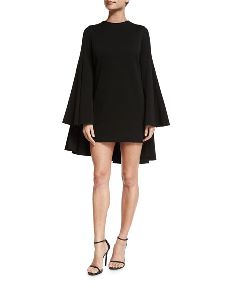 Brandon Maxwell Long-Sleeve Pleated-Back Cocktail Dress, Black