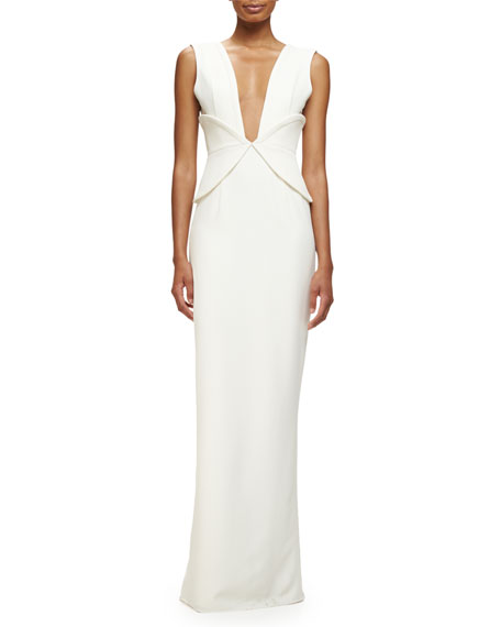 Sleeveless V-Neck Corset Gown, Ivory