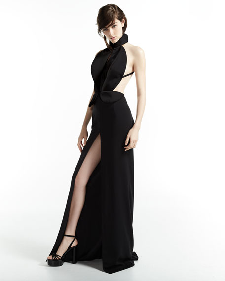 Sleeveless Cutout Tuxedo Gown, Black