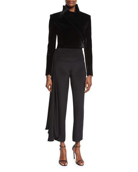 Cropped Side-Sash Pants, Black