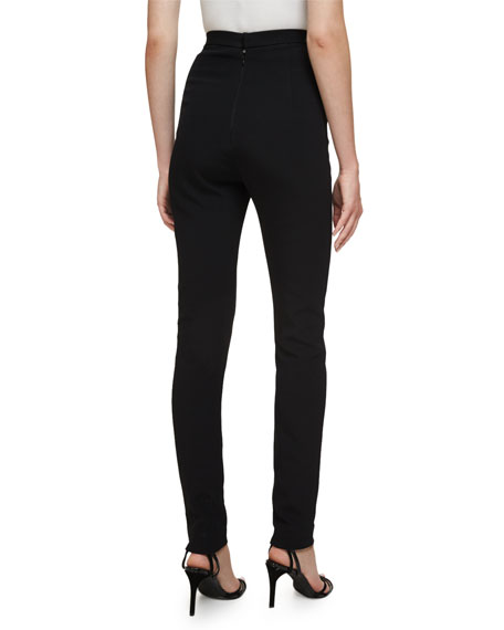 High-Waist Cigarette Pants, Black