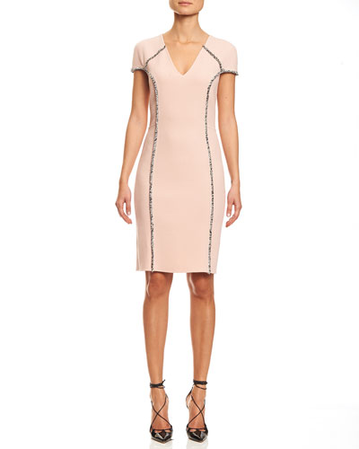 Eyelash-Trim Cap-Sleeve Dress, Light Pink