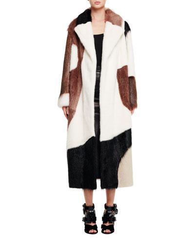 Long Fur Intarsia Coat, Brown/White/Black