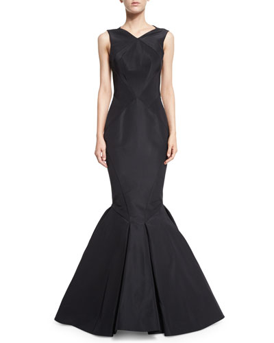 Sleeveless Open-Back Silk Faille Trumpet Gown, Black