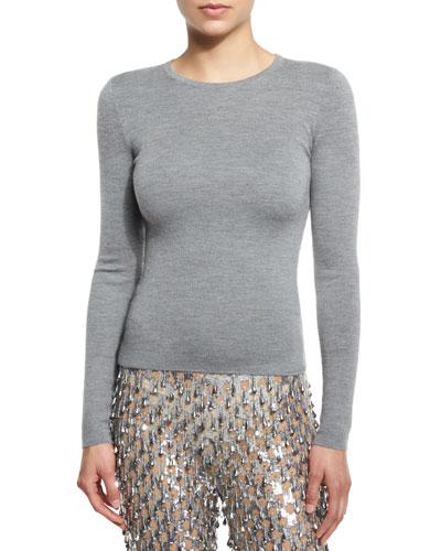Cashmere Crewneck Sweater, Banker Melange