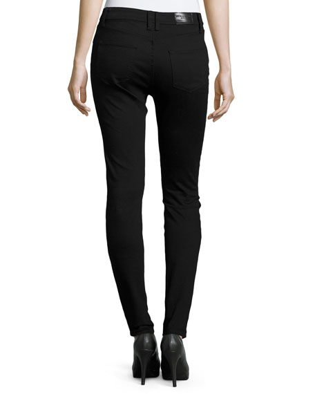 Low-Rise Denim Skinny Jeans, Black