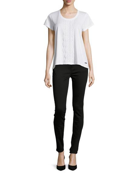 Low-Rise Denim Skinny Jeans, Black