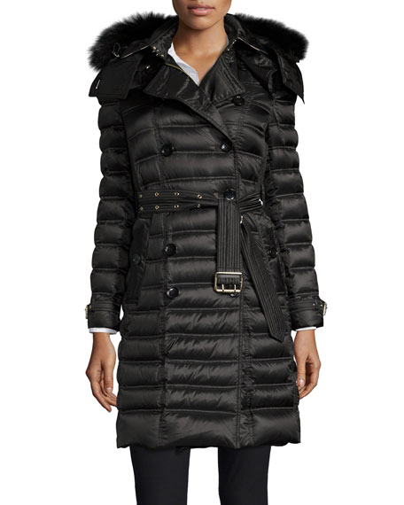 Chesterford Double-Breasted Fur-Hood Quilted Coat, Black