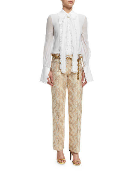 Jacquard Straight-Leg Pants, Fawn/Gold
