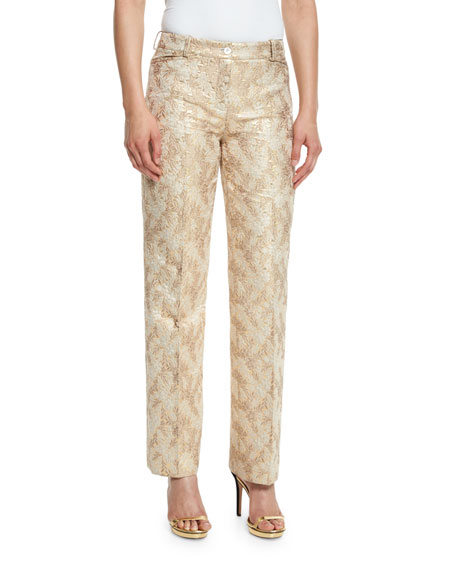 Michael Kors Collection Jacquard Straight-Leg Pants, Fawn/Gold