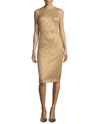 Sleeveless Metallic Jacquard Sheath Dress, Fawn/Gold