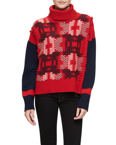 Pixel Cashmere Turtleneck Sweater, Red/Gray/Navy