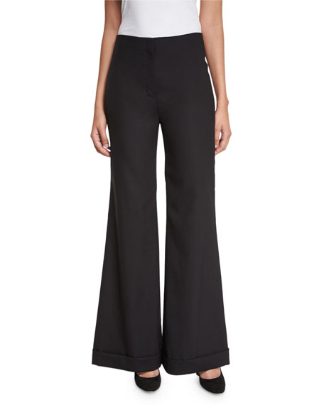 THE ROW Winona Flared Cuffed Pants, Black