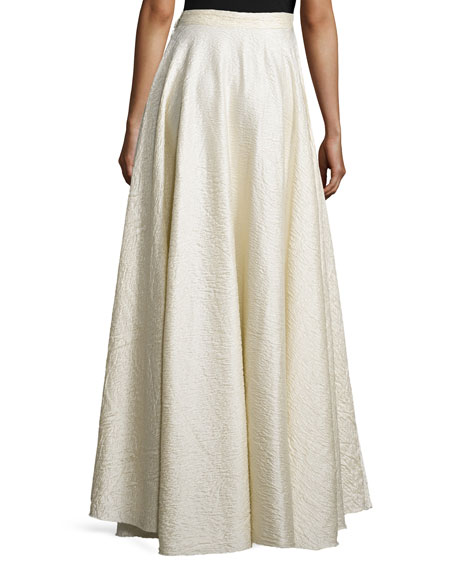 Lea Textured A-Line Maxi Skirt, White Rose