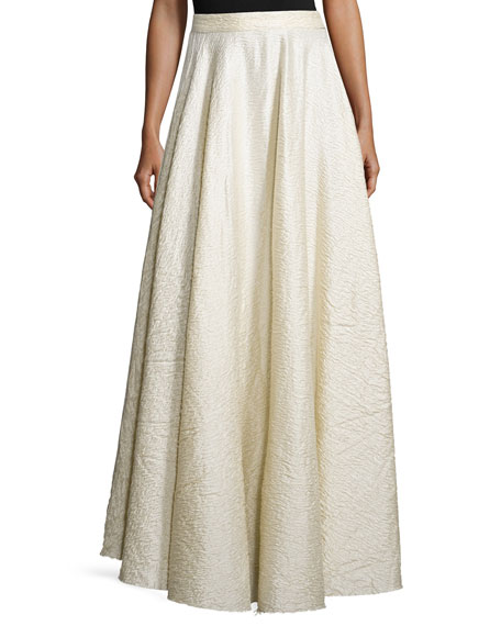 THE ROW Lea Textured A-Line Maxi Skirt, White